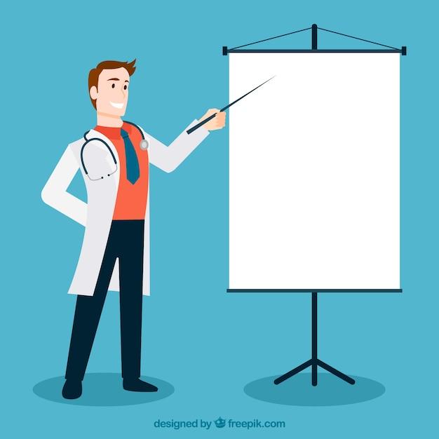 Docteur Pointant Au Blanc Vecteur gratuit