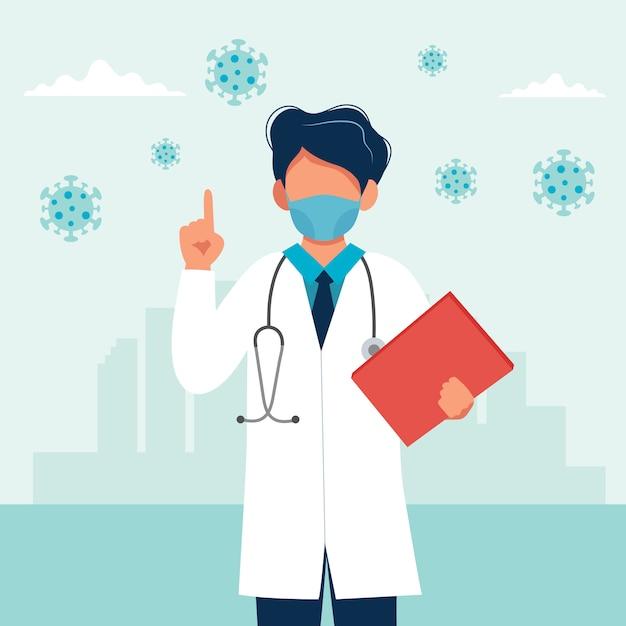 Docteur, Porter, A, Masque Médical Vecteur Premium