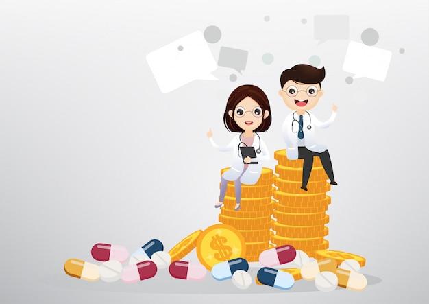 Docteur, séance, pièces, concept affaires, santé Vecteur Premium