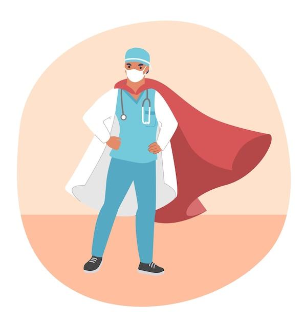 Docteur Super Héros Portant Un Masque Médical Et Une Cape Rouge, Plat. Un Médecin Courageux Prêt à Lutter Contre La Maladie à Virus Corona Covid-19. Vecteur Premium