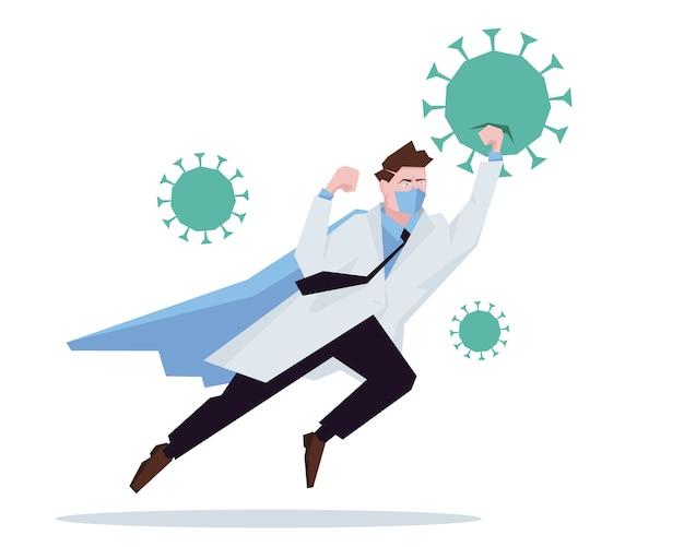 Docteur Super-héros Travaillant à L'hôpital Et Combattant Le Coronavirus. Vecteur Premium