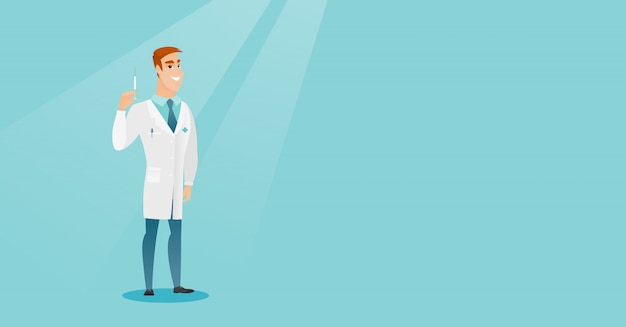Docteur Tenant Illustration Vectorielle De Seringue. Vecteur Premium