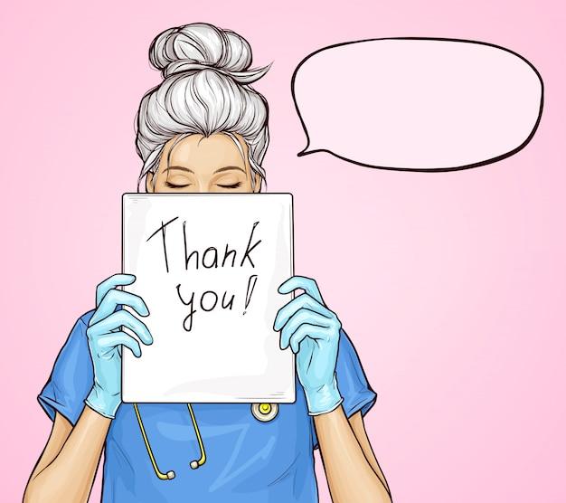 Docteur Tient Une Affiche Avec Le Texte Merci Vecteur Premium