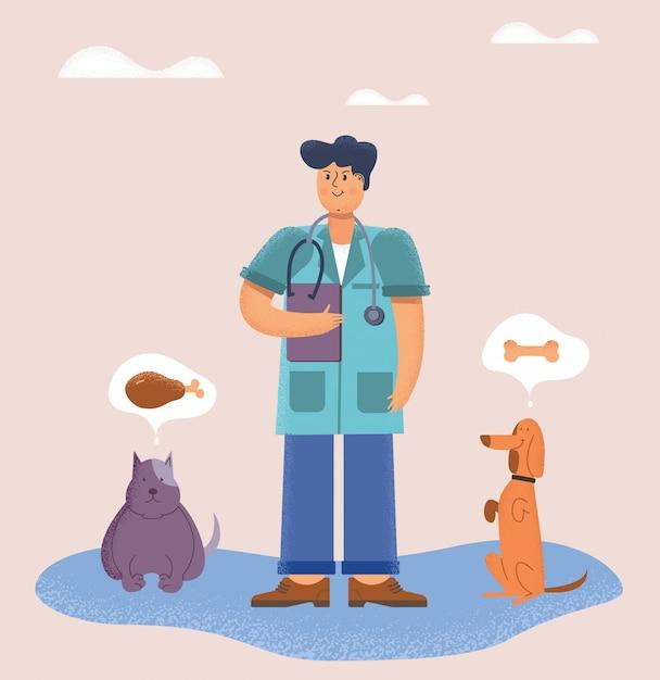 Docteur vétérinaire avec ses animaux à quatre pattes Vecteur Premium