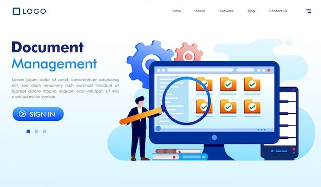 Document d'illustration de site web page d'atterrissage de gestion de documents Vecteur Premium