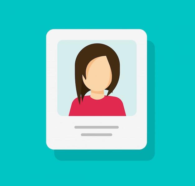 Document De Profil Personnel Avec Photo D'identité Ou Mon Icône De Compte Dessin Animé Plat Isolé Vecteur Premium