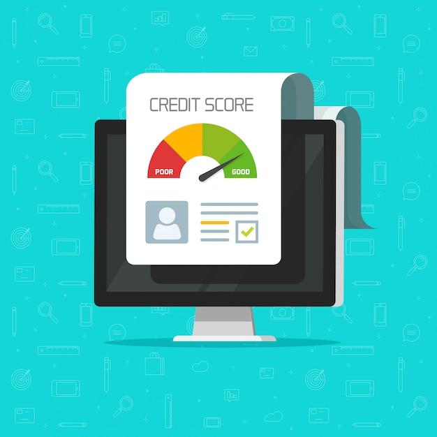 Document de rapport de pointage de crédit en ligne sur un écran d'ordinateur Vecteur Premium
