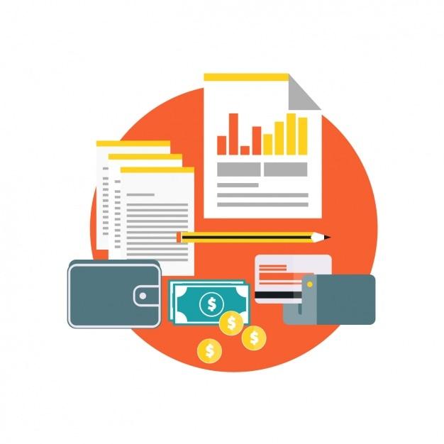 Documents d'affaires avec des pièces de monnaie et une carte de crédit Vecteur gratuit