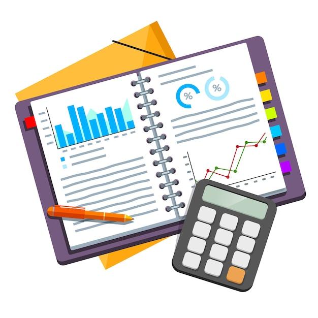 Documents de plan d'affaires ouverts dans le classeur Vecteur gratuit