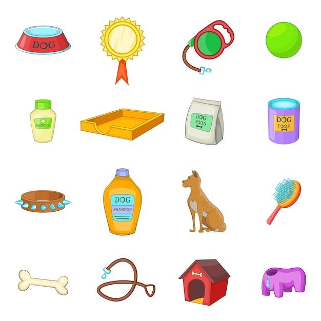 Dog care icons set Vecteur Premium