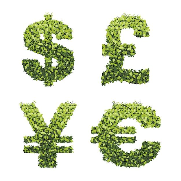 Dollar Euro Livre Et Yen Vert Laisse Vecteur De Monnaie