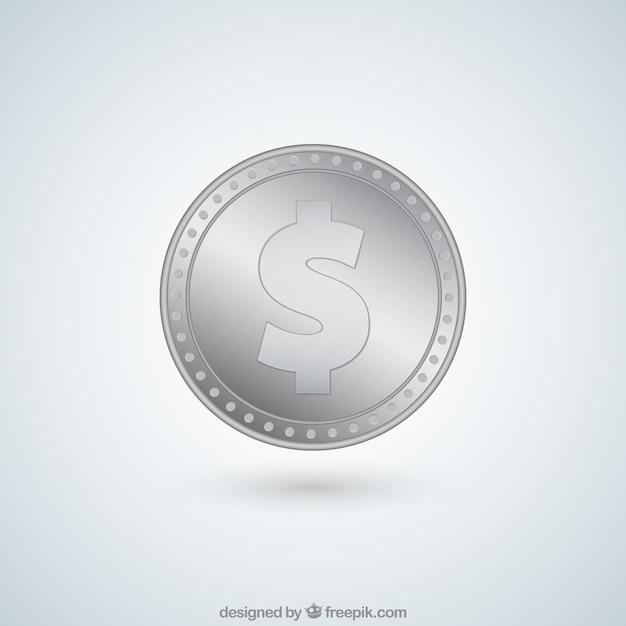 Dollar pièce d'argent Vecteur gratuit