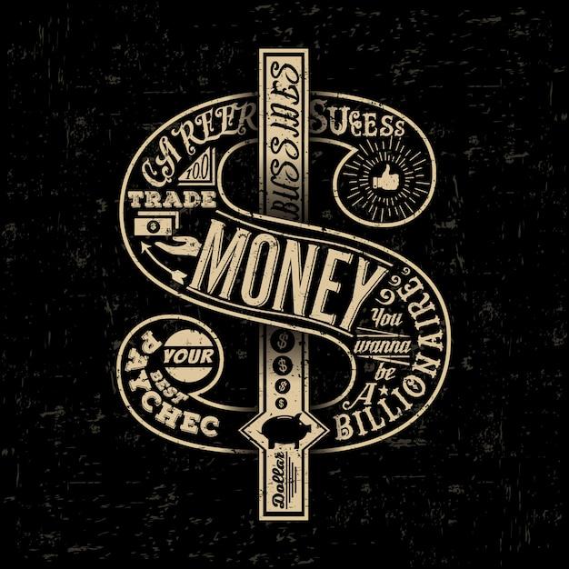 Dollar rétro typographique créative dessinée à la main. Vecteur Premium