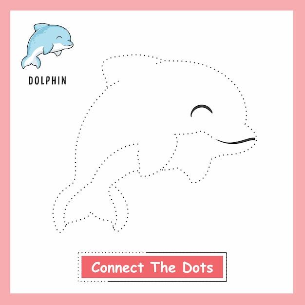 Dolphin connect the dots Vecteur Premium
