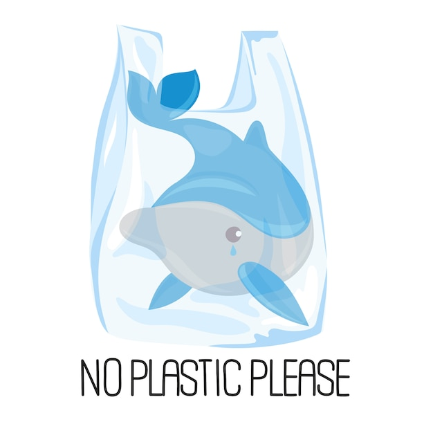 Dolphin plastic problème écologique Vecteur Premium
