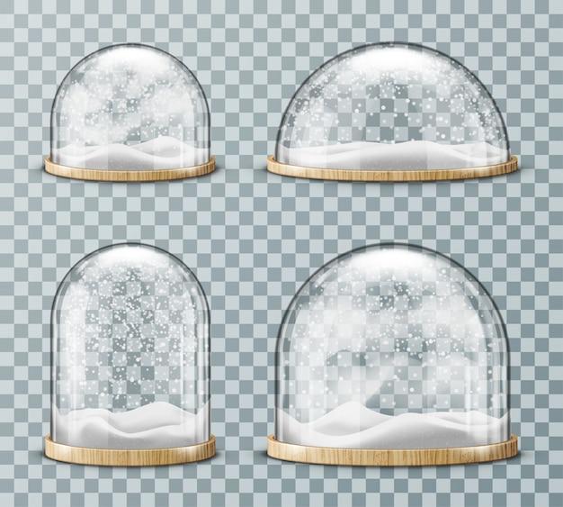 Dôme en verre avec neige réaliste Vecteur gratuit