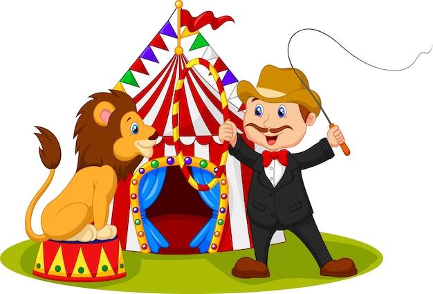 Dompteur De Dessin Animé Former Un Lion Avec Fond De Cirque