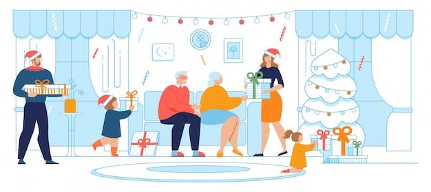 Don de cadeaux sur noël et nouvel an cartoon Vecteur Premium