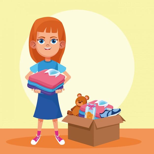 Don d'enfants et de charité Vecteur Premium