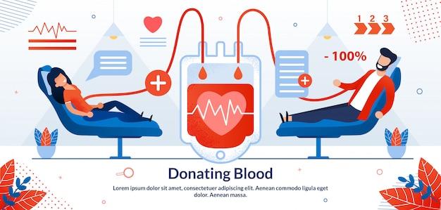 Don de sang bénévole illustration vectorielle Vecteur Premium