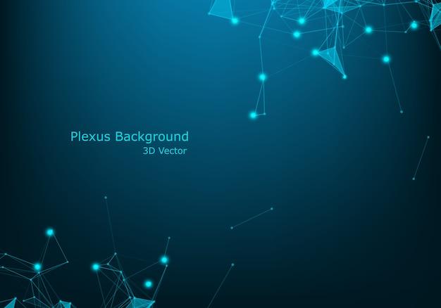 Données de fil de fer futuriste réseau réseau abstrait technologie fil bleu avec effet d'éclairage. fond de connexion big data Vecteur Premium