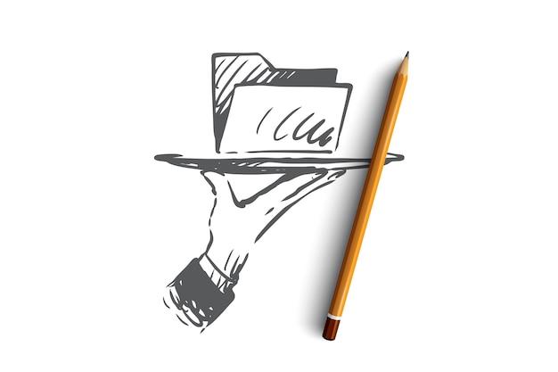 Données, Numérique, Information, Technologie, Concept D'analyse. Dossier De Données Dessiné à La Main Sur Un Croquis De Concept De Plat. Vecteur Premium