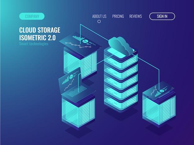 Données de stockage en nuage, accès au système crm et synchronisation des périphériques Vecteur gratuit
