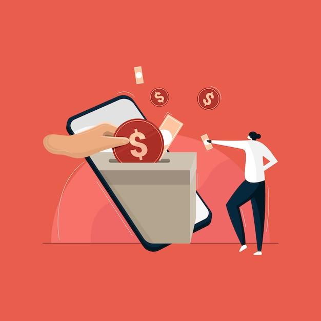 Donner De L'argent Par Paiement En Ligne. Concept De Collecte De Fonds De Bienfaisance Vecteur Premium