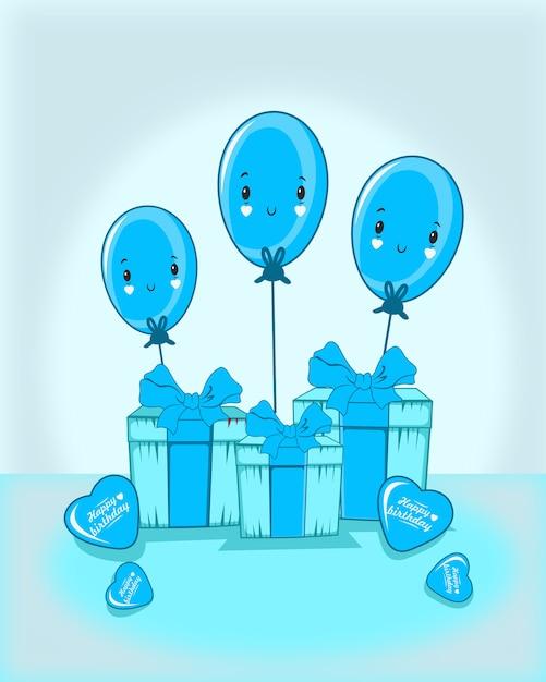 Donnez Avec Trois Ballon émoticône Et Ballon D'amour Vecteur Premium