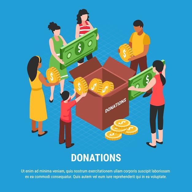 Dons Publicitaires Avec Des Gens Mettant Des Pièces Et Des Billets Dans L'illustration Vectorielle Isométrique De Boîte De Don Vecteur gratuit