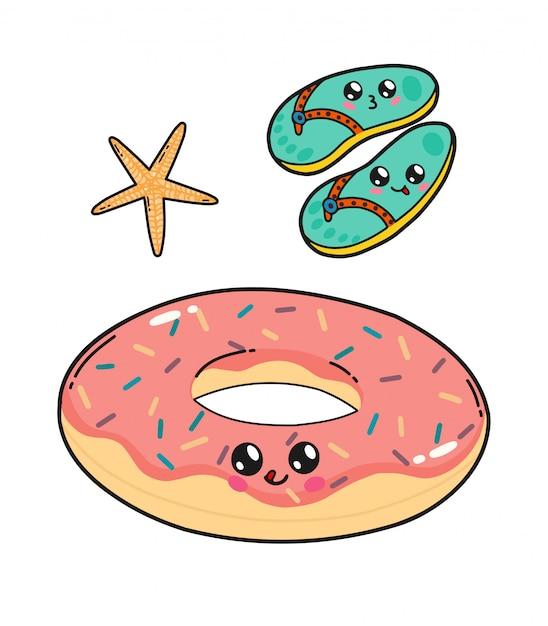 Donut et ardoises pour piscine flottant dans le style kawaii du japon. personnages de dessins animés heureux avec des grimaces isolés Vecteur Premium