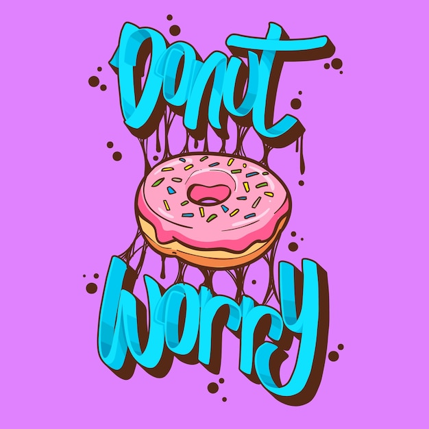 Donut inquiet donuts t-shirt citations illustration vectorielle Vecteur Premium