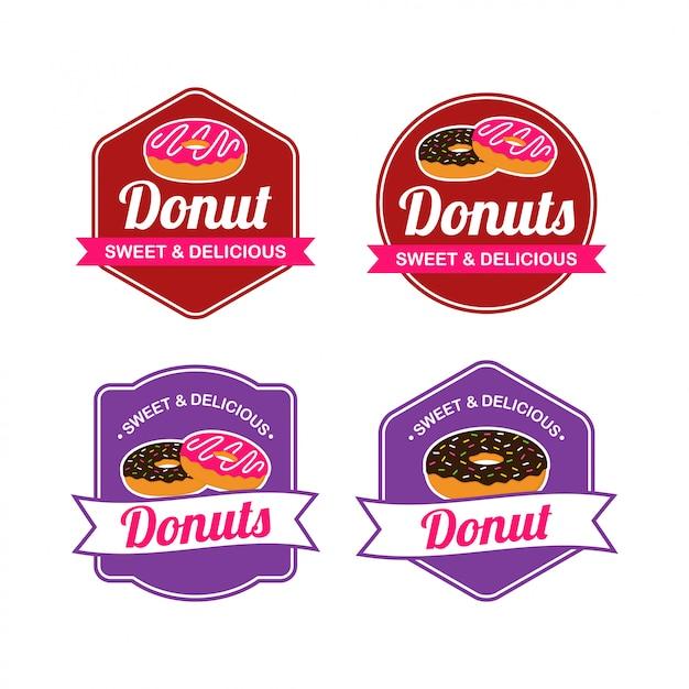 Donut logo vector avec la conception de badge Vecteur Premium