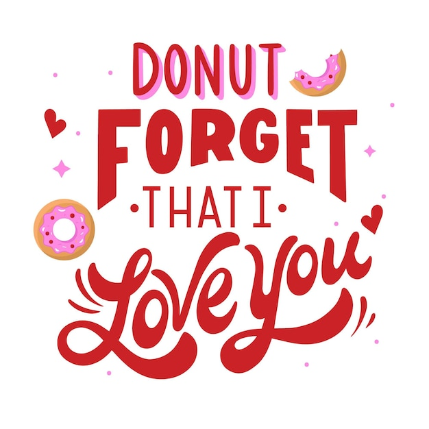 Donut Oublie Que Je T'aime Message Vecteur gratuit