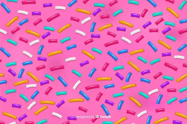 Donut rose fond de glaçure délicieux Vecteur gratuit