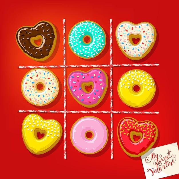 Donuts En Forme De Coeur Avec Ma Douce Note De Valentine Sur La Table. Vecteur Premium