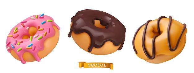 Donuts Avec Glaçage Rose Et Chocolat. Vecteur Premium