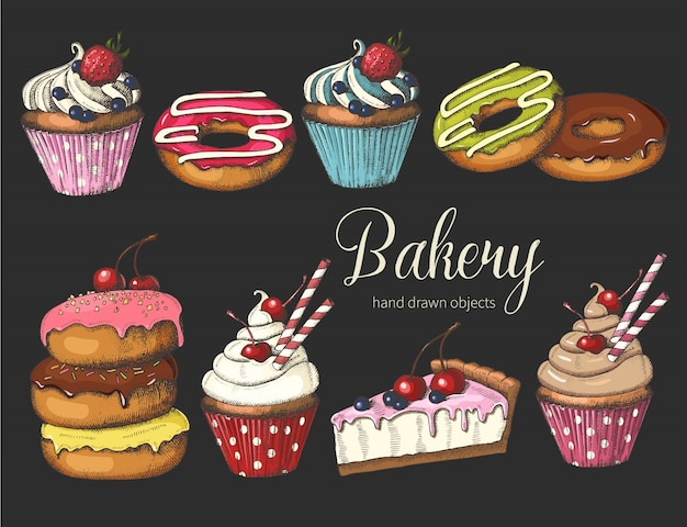 Donuts glacés dessinés à la main, gâteaux et cupcakes. Vecteur Premium