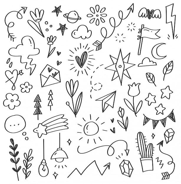 Doodle abstrait dessiné à la main Vecteur Premium