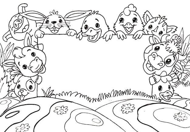 Doodle animaux de ferme mignons avec babillard blanc Vecteur Premium