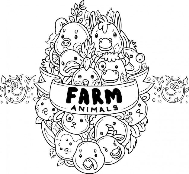 Doodle animaux de ferme mignons en forme d'oeuf Vecteur Premium