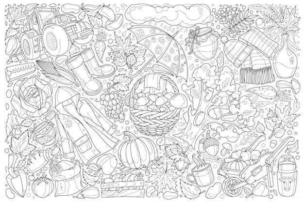Doodle automne mis illustration fond Vecteur Premium