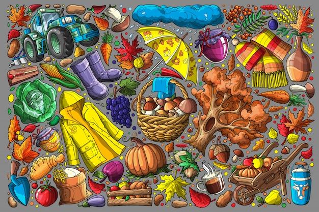 Doodle automne mis illustration vectorielle Vecteur Premium