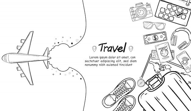 Doodle avion check point concept concept voyage autour du monde Vecteur Premium