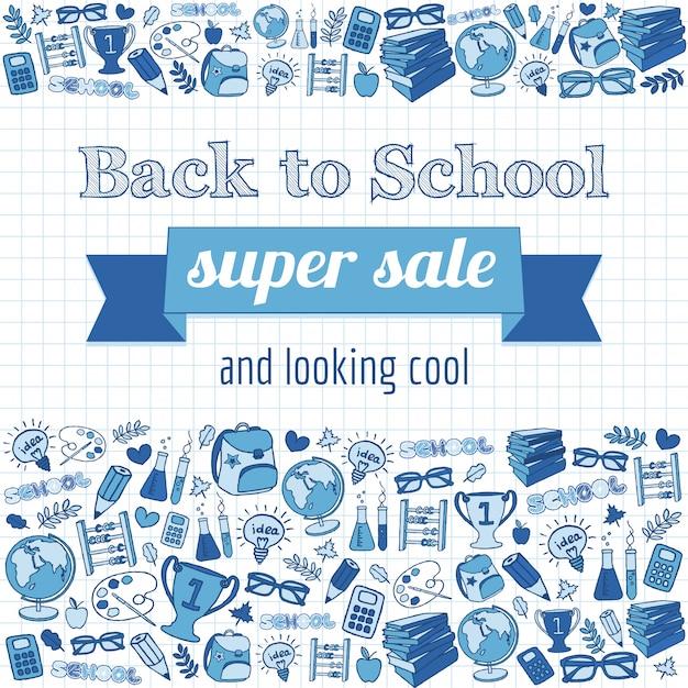 Doodle à la bannière de vente super école Vecteur Premium