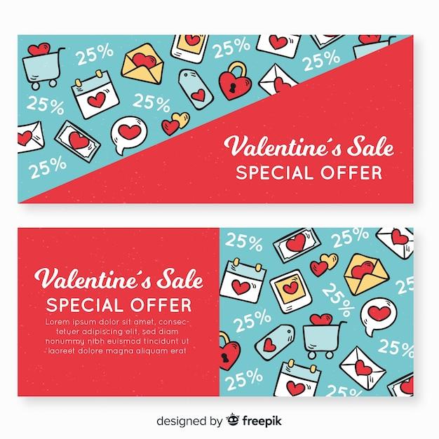 Doodle bannière de vente de valentine Vecteur gratuit