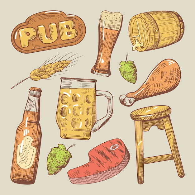 Doodle De Bière De Pub Traditionnel Avec Du Houblon Et Du Steak Vecteur Premium