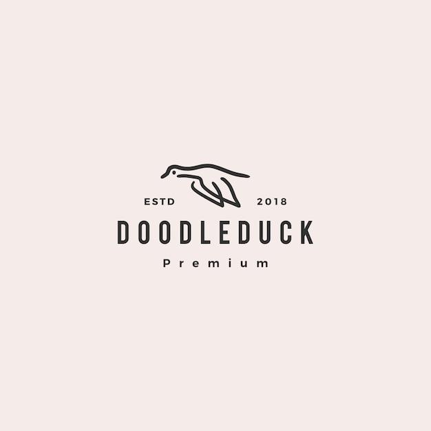 Doodle canard logo icône illustration vectorielle Vecteur Premium