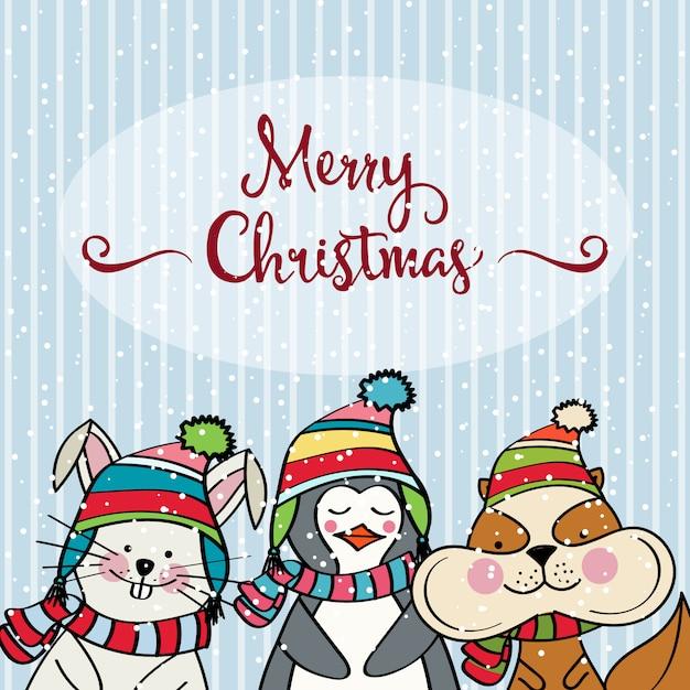 Carte De Noel Droles.Doodle Carte De Noël Avec Des Drôles D Animaux Habillés