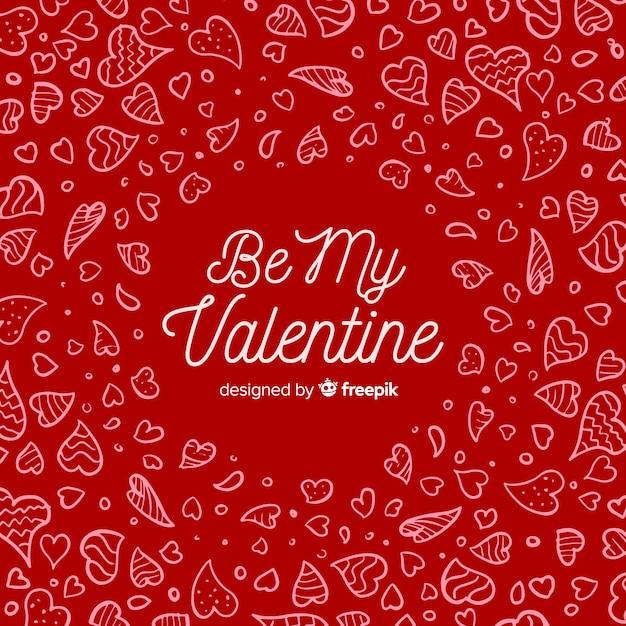 Doodle coeur saint valentin lettrage de fond Vecteur gratuit